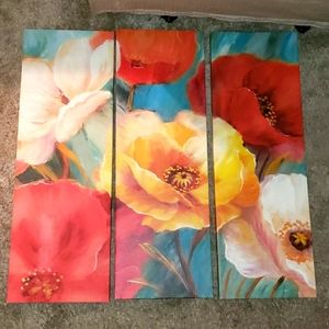 New 3 Panel Puzzle Floral Illusion Oil Painting